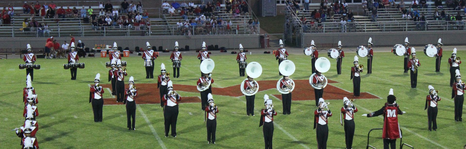 Marching band playing at a football game